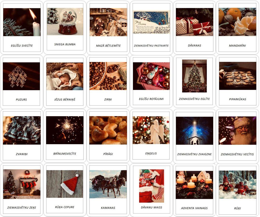 24 Ziemassvētku simboli - Adventes kalendārs - LIELIE DRUKĀTIE BURTI