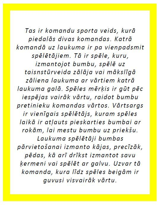 Komplekts - Bumbu sporta veidi