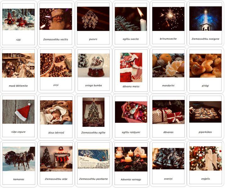 24 Ziemassvētku simboli - Adventes kalendārs - iespiedburti