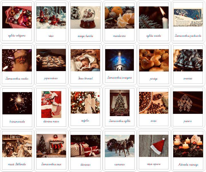 24 Ziemassvētku simboli - Adventes kalendārs - krāsaini rakstītie burti